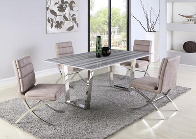 Brianna-Maya Polished Dining Table w/4 Side Chairs