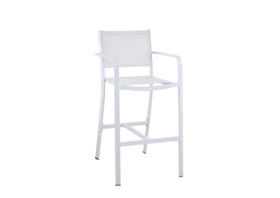Image for Carmel Matte White Outdoor Bar Stool (Set of 2) w/ Aluminum Frame