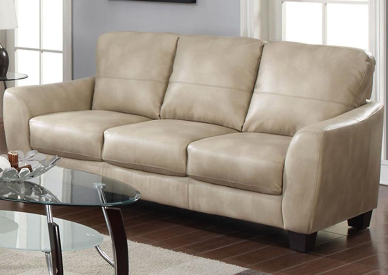 Fremont Taupe Club Bonded Leather Sofa