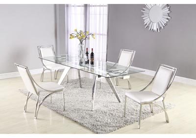 Image for Josie White Dining Set w/Extendable Glass Table & 4 Leather Chairs