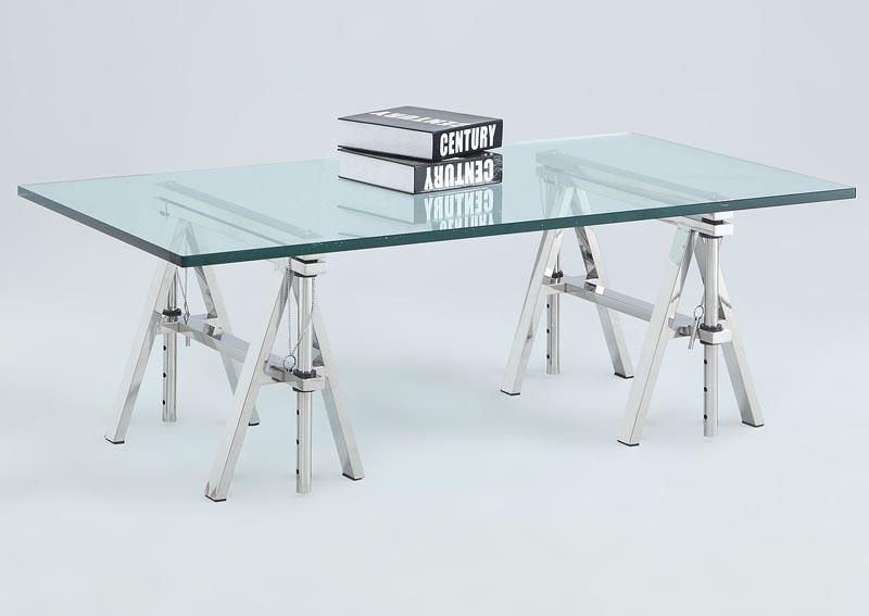 Dinette 1 Karen Adjustable Height Glass Top Sofa Table