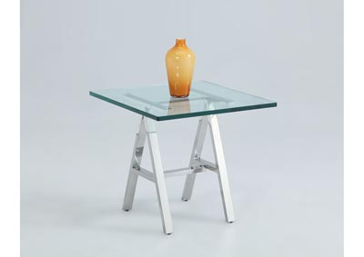 Karen Adjustable Height Glass Top Lamp Table
