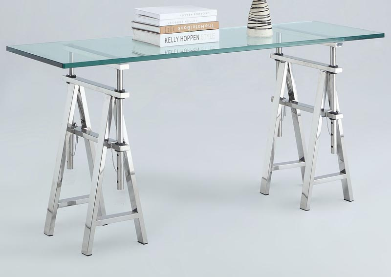 Karen Adjustable Height Glass Top Sofa Table