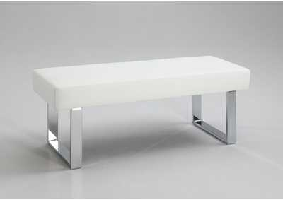 Linden White PU Leather Long Bench