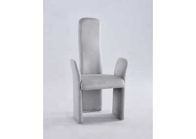 Lucy Grey Contour Back Arm Chair (Set of 2)