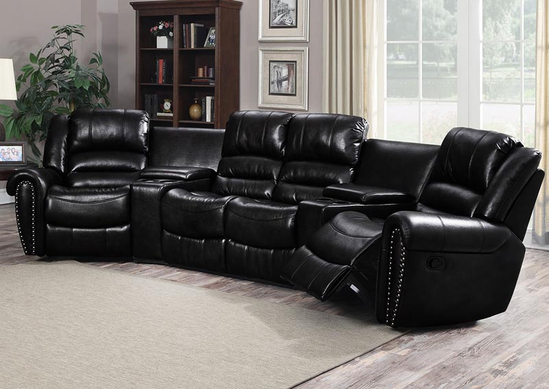 Laredo Black 5 Piece Sectional w/Console