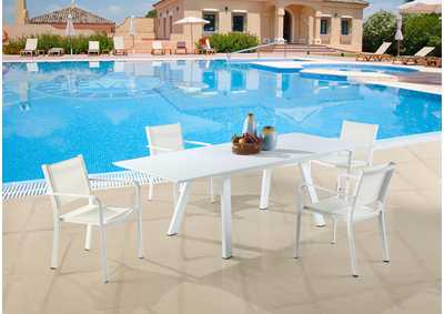 Image for Malibu Matte White Outdoor UV Resistant Dining Set w/ Extendable Table & LB Chairs