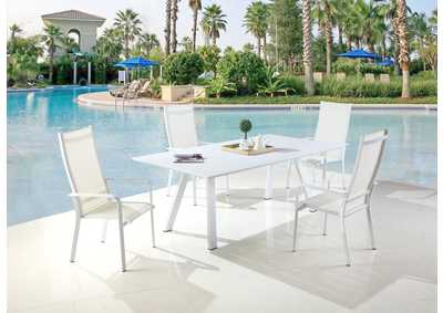 Image for Malibu Matte White Outdoor UV Resistant Dining Set w/ Table & HB Chairs