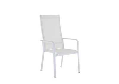 Image for Malibu Matte White High Back Outdoor Chair (Set of 2) with Sling Seat