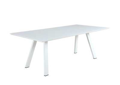 Image for Malibu Matte White UV Resistant Outdoor Large Rectangular Table