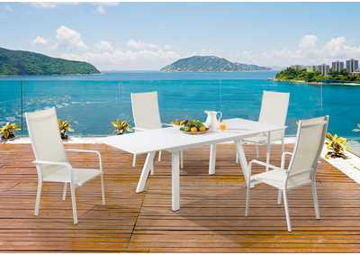 Image for Malibu Matte White Outdoor UV Resistant Dining Set w/ Extendable Table & HB Chairs
