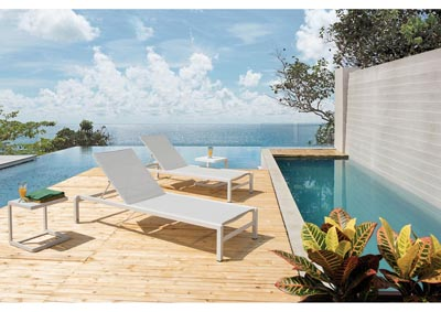 Image for Malibu Matte White Outdoor UV Resistant Lounge Chair