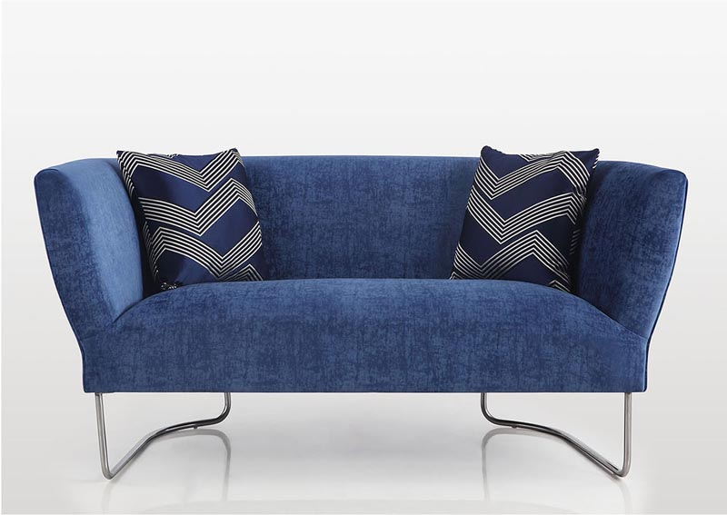 Image for Orlando Blue Club Style Loveseat w/2 Geometric Pillows