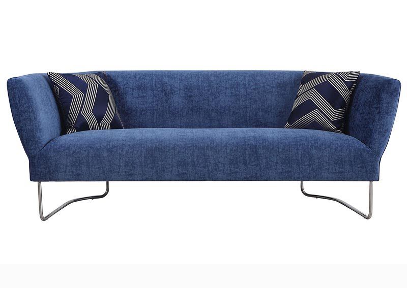 Orlando Blue Club Style Sofa w/2 Geometric Pillows