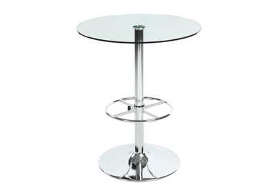 Image for Chrome Round Glass Top Pub Table