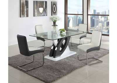 Image for Stella White & Black Rectangular Glass Top 5 Piece Dining Set