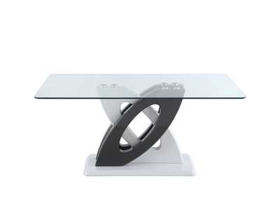Image for Stella White & Black Rectangular Glass Top Dining Table