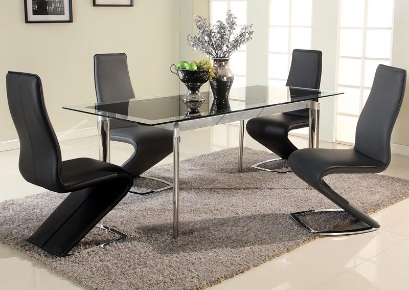 Tara Black Pop-Up Extension Dining Table