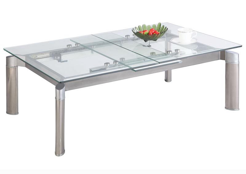 Tara Clear Pop-Up Extension Clear Glass Cocktail Table