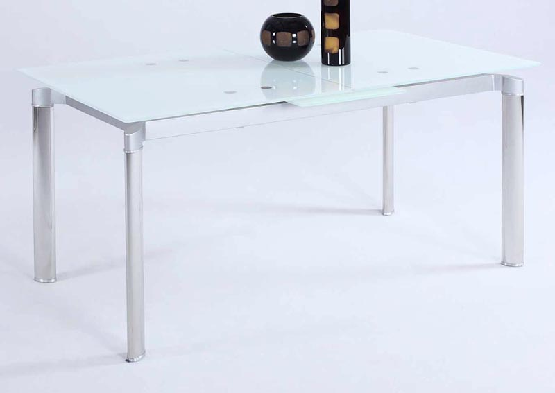 Tara White Starphire Glass Pop-Up Extension Dining Table