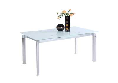 Image for Tara Starphire Glass & Stainless Steel Pop-Up Extension Starphire Glass Dining Table