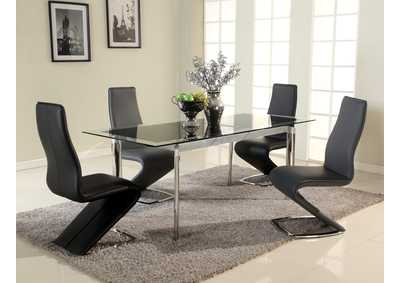 Image for Tara Black Glass & Stainless Steel Pop-Up Extension Glass Dining Table