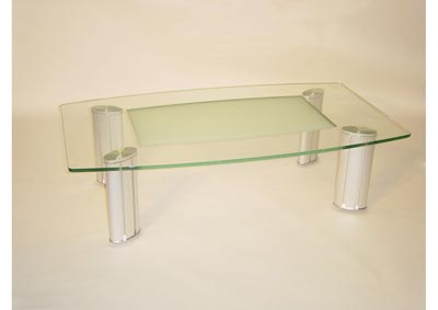 Tracy Silver Rectangular Glass Top Cocktail Table