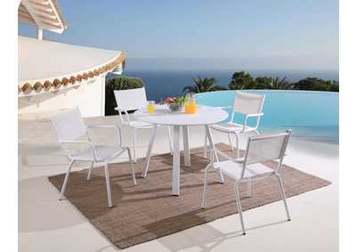 Image for Ventura Matte White Outdoor Dining Set w/ Round Table & Chairs