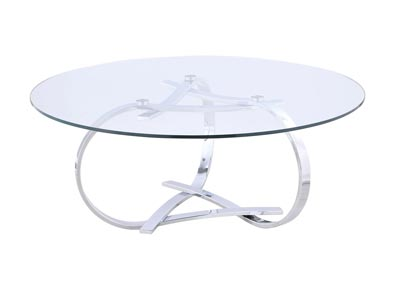 Whitney Round Tempered Glass Top Cocktail Table