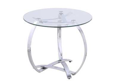 Whitney Round Tempered Glass Top Lamp Table