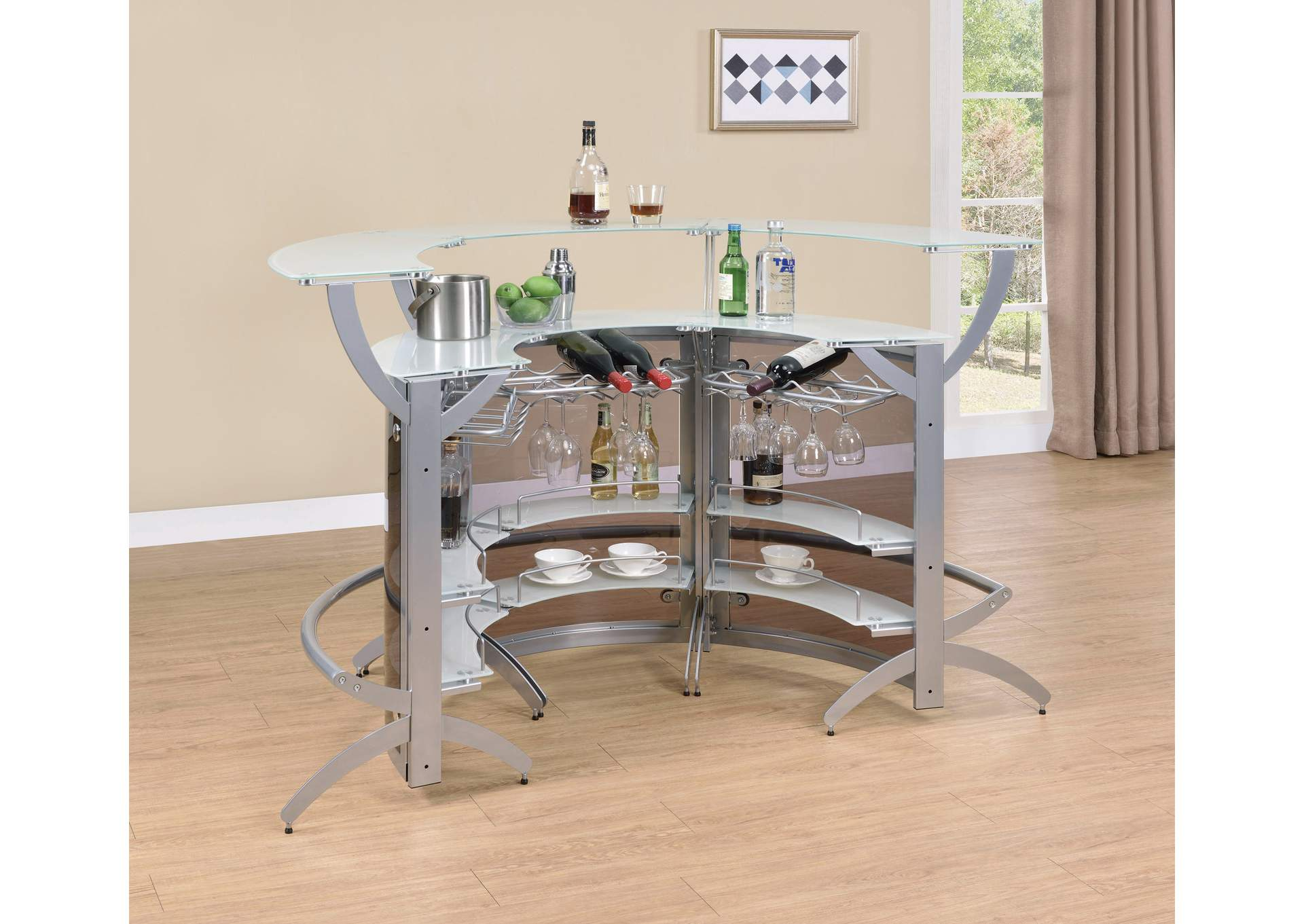Metallic 3 Piece Bar Unit Set,Coaster Furniture