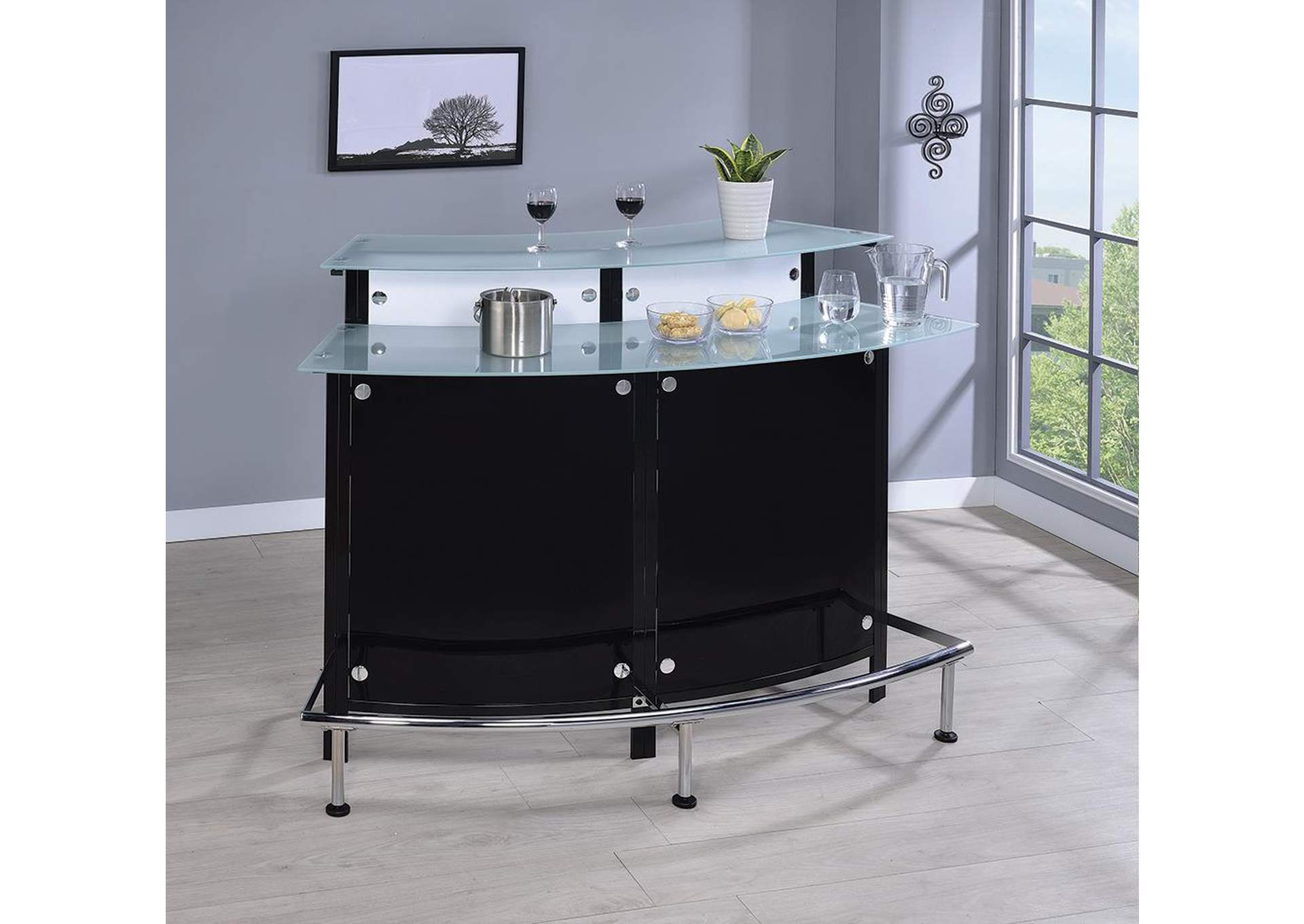Cinder Two-Shelf Contemporary Chrome and Black Bar Unit,Coaster Furniture