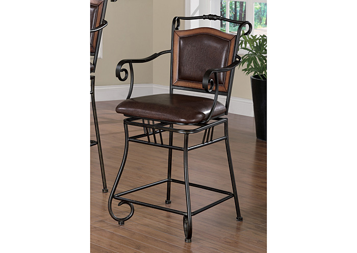 Brown & Black 24in Metal Bar Stool,Coaster Furniture