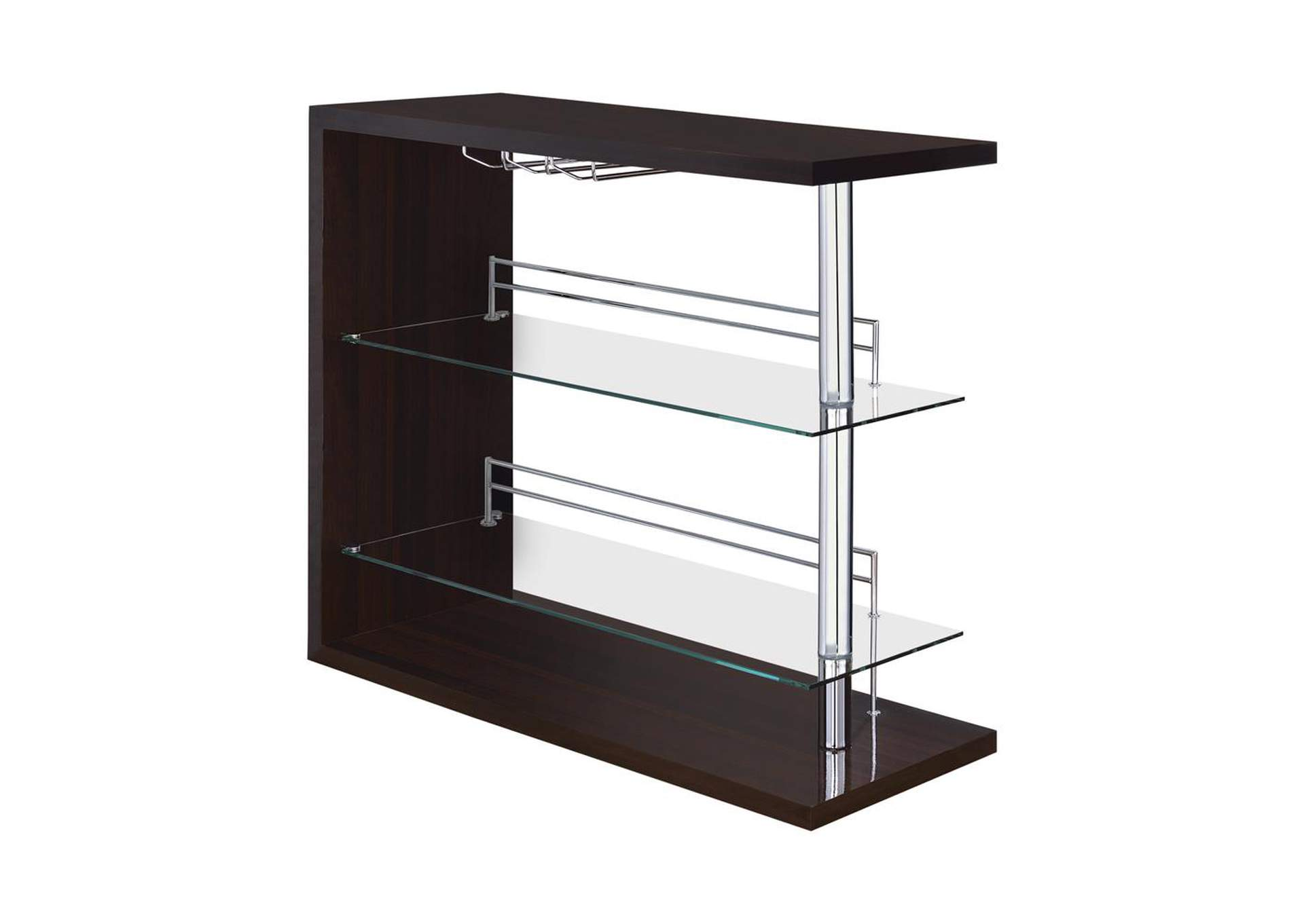 Cappuccino High Gloss Two-Shelf Contemporary Bar Unit,Coaster Furniture