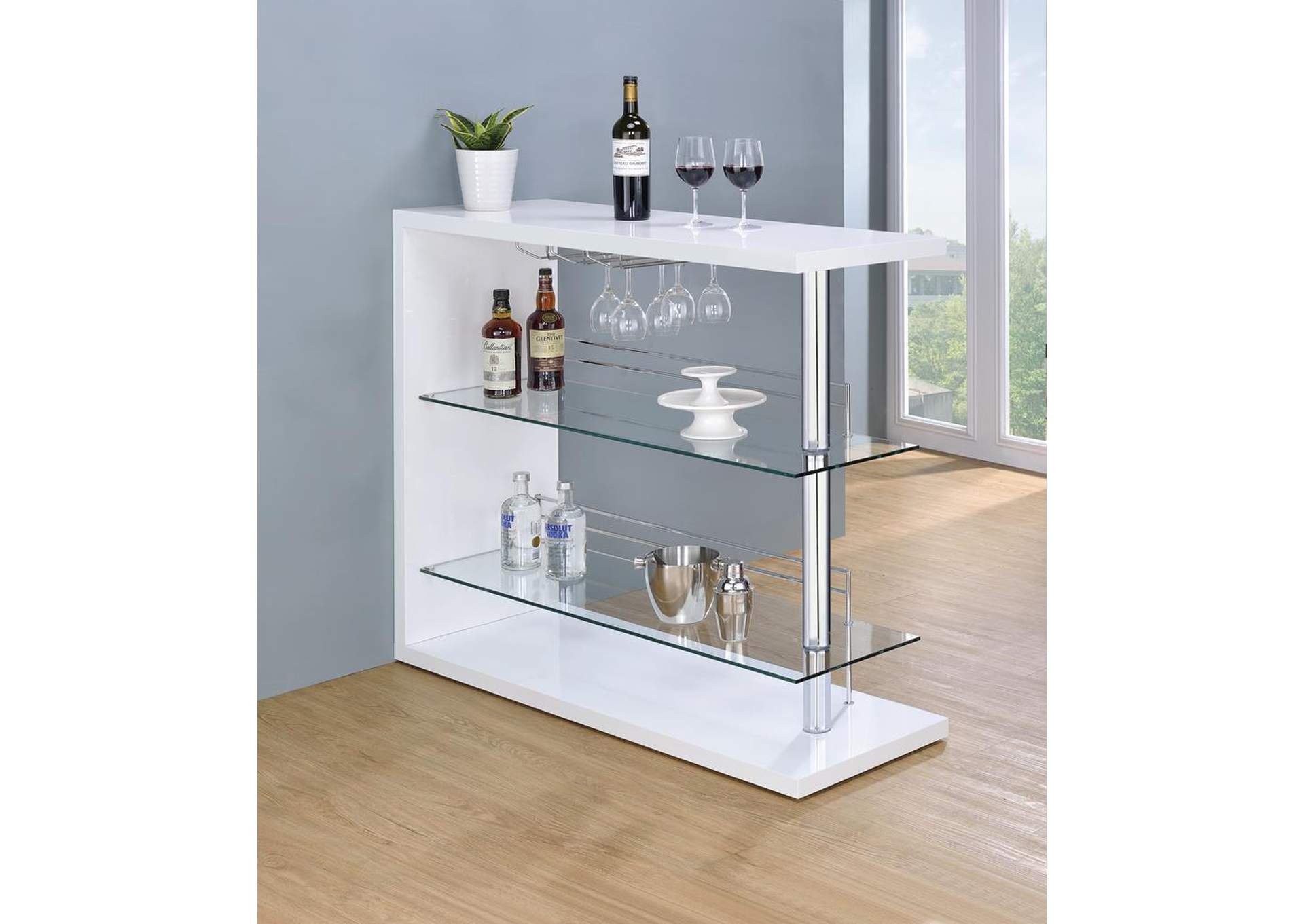 Two-Shelf Bar Unit w/Wine Holder,Coaster Furniture