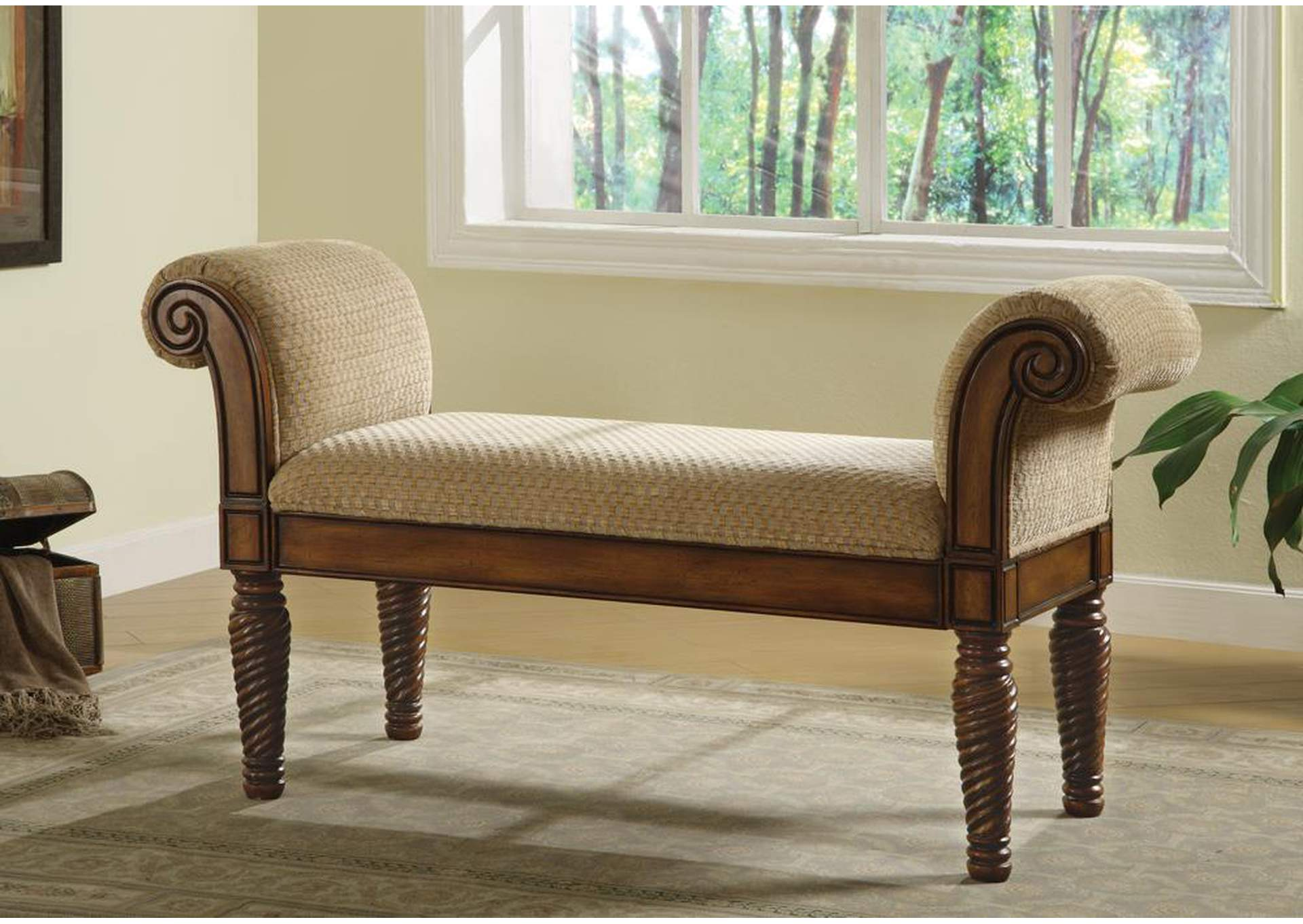Beige & Brown Stately Upholstered Bench,Coaster Furniture