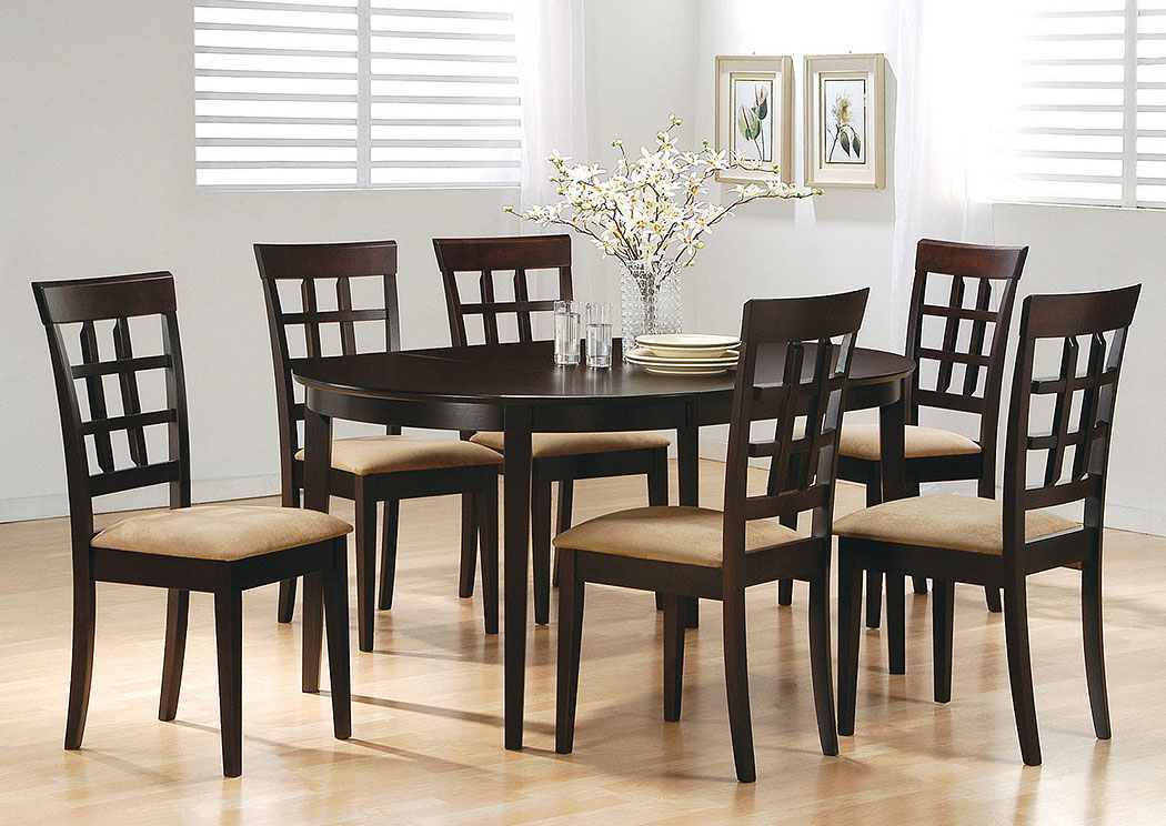 Cappuccino Oval Dining Table w/6 Wheat Back Side Chairs,Coaster Furniture