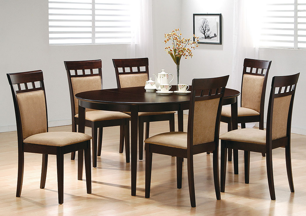 Cappuccino Oval Dining Table w/6 Cushion Back Side Chairs,Coaster Furniture
