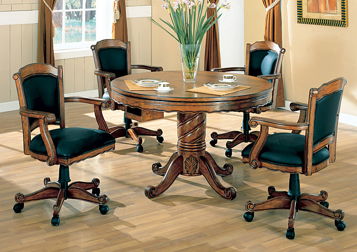 Green & Oak Convertible Dining Table (Bumper Pool & Poker) w/4 Game Chairs,Coaster Furniture
