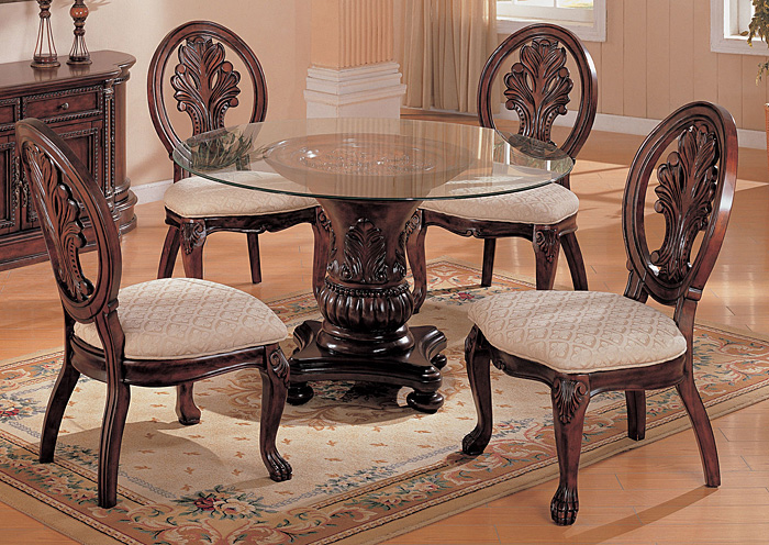 Tabitha Dark Cherry Glass Top Table w/4 Side Chairs,Coaster Furniture