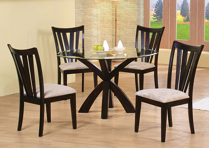 Shoemaker Deep Merlot Dining Table w/4 Side Chairs,Coaster Furniture