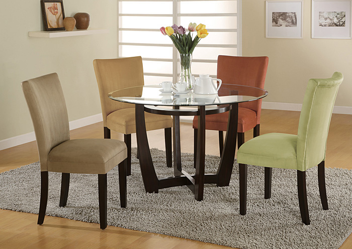 Bloomfield Cappuccino Round Glass Top Dining Table W/4 Terracotta U0026  Cappuccino Parson Chairs,