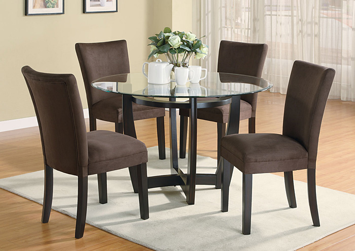 Bloomfield Cappuccino Round Glass Top Dining Table w/4 Chocolate & Cappuccino Parson Chairs,Coaster Furniture