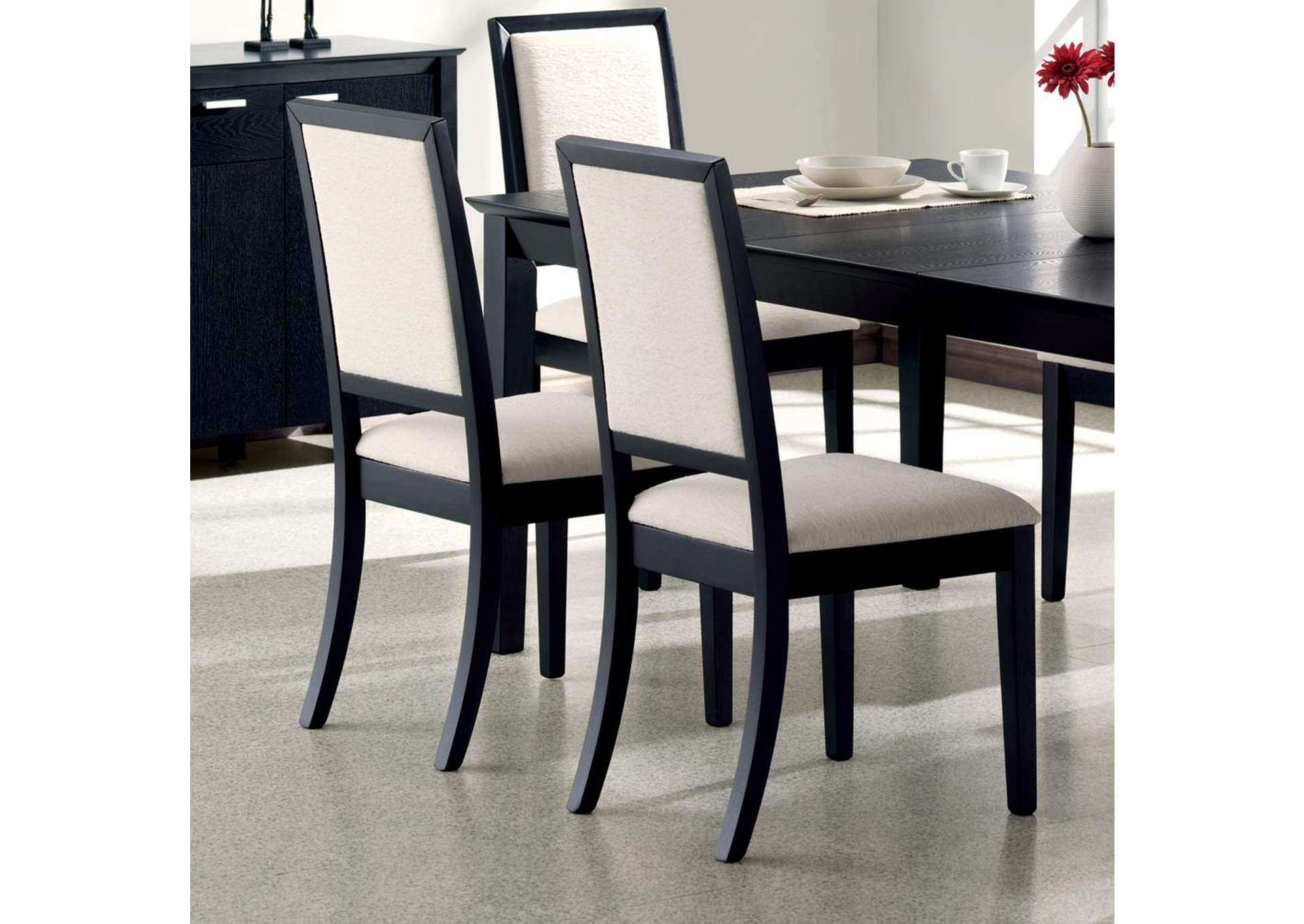 Lexton Cream & Black Side Chair (Set of 2),Coaster Furniture