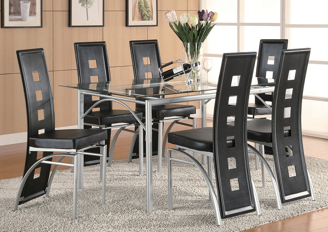 Table w/6 Black & Silver Dining Chairs,Coaster Furniture