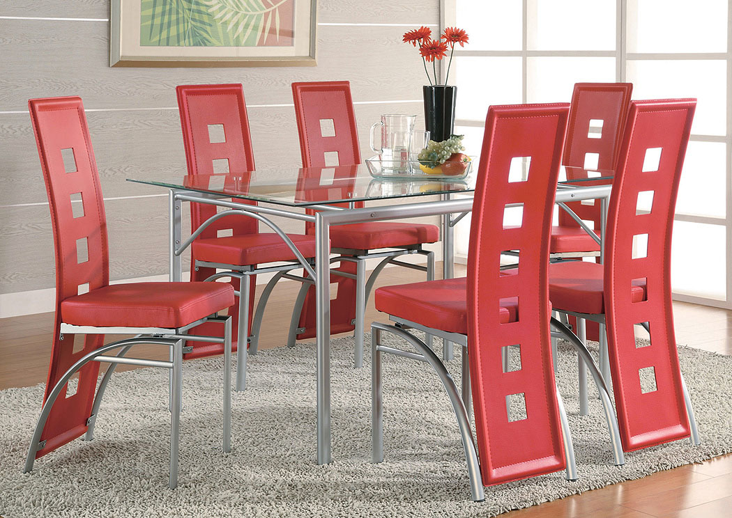 Table w/4 Red & Silver Dining Chairs,Coaster Furniture