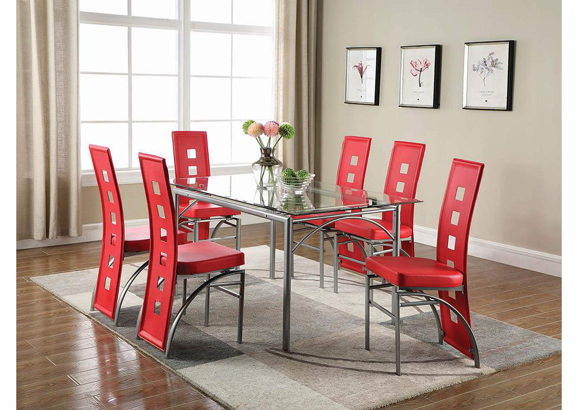 Red & Silver Dining Chair (Set of 2),Coaster Furniture