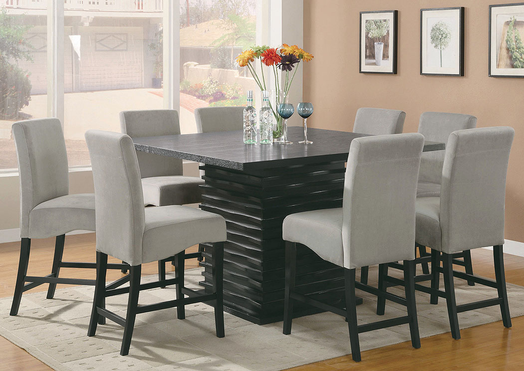 Stanton Black Counter Height Table w/8 Grey & Black Barstools,Coaster Furniture