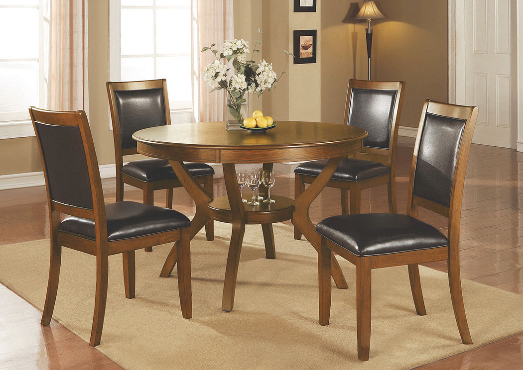 Nelms Walnut Table W/4 Chairs,Coaster Furniture