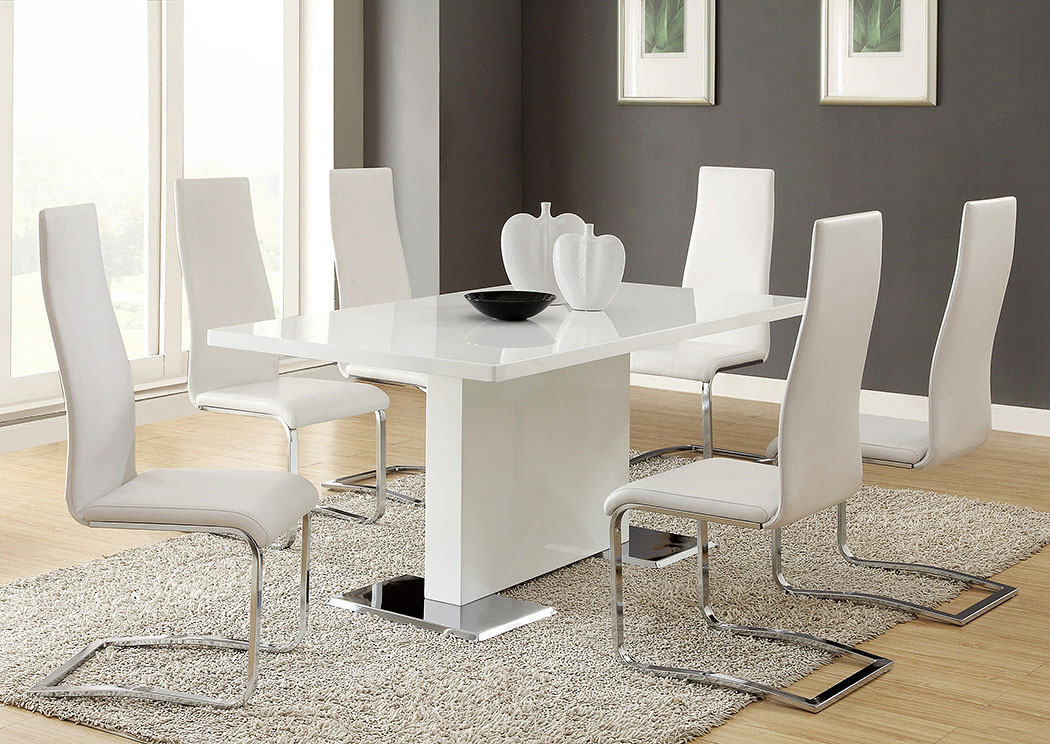 Merveilleux Nameth White Dining Table W/4 Side Chairs,Coaster Furniture